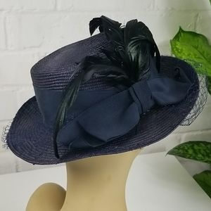 Vintage Formal Derby Straw Hat Purple With Netting